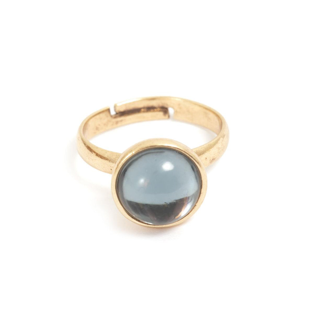 Glass Drop Ring - Bronze