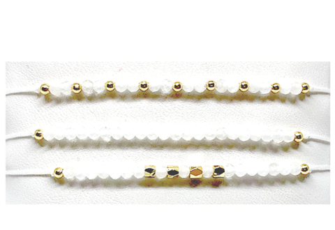 Set of Three String Pull Moonstone Bracelets