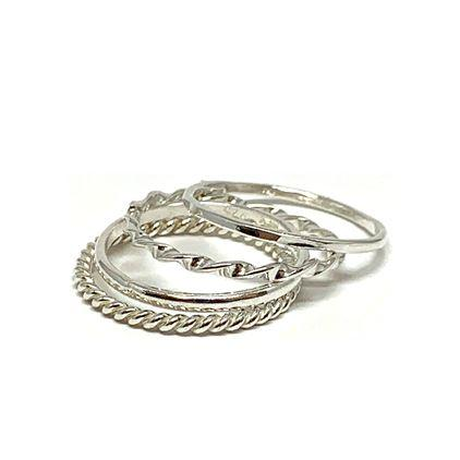 Dainty 4 Stack Silver Rings