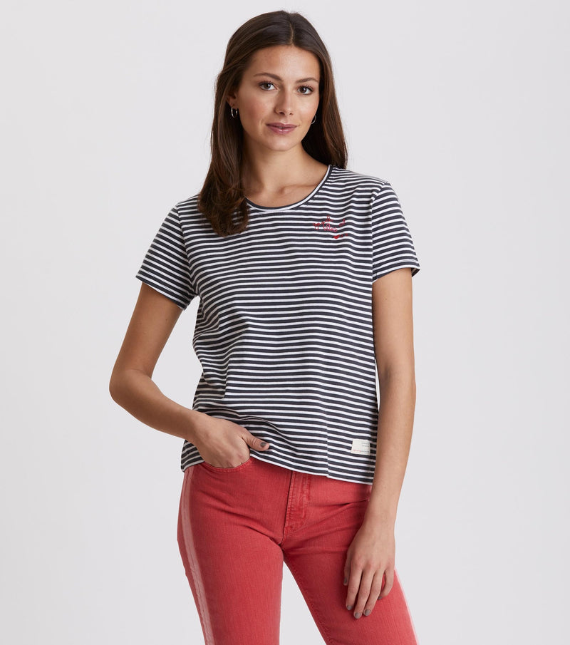 Miss Stripes Asphalt Tee