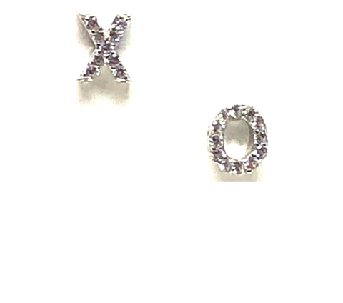 Sterling Silver Pave XO Earrings