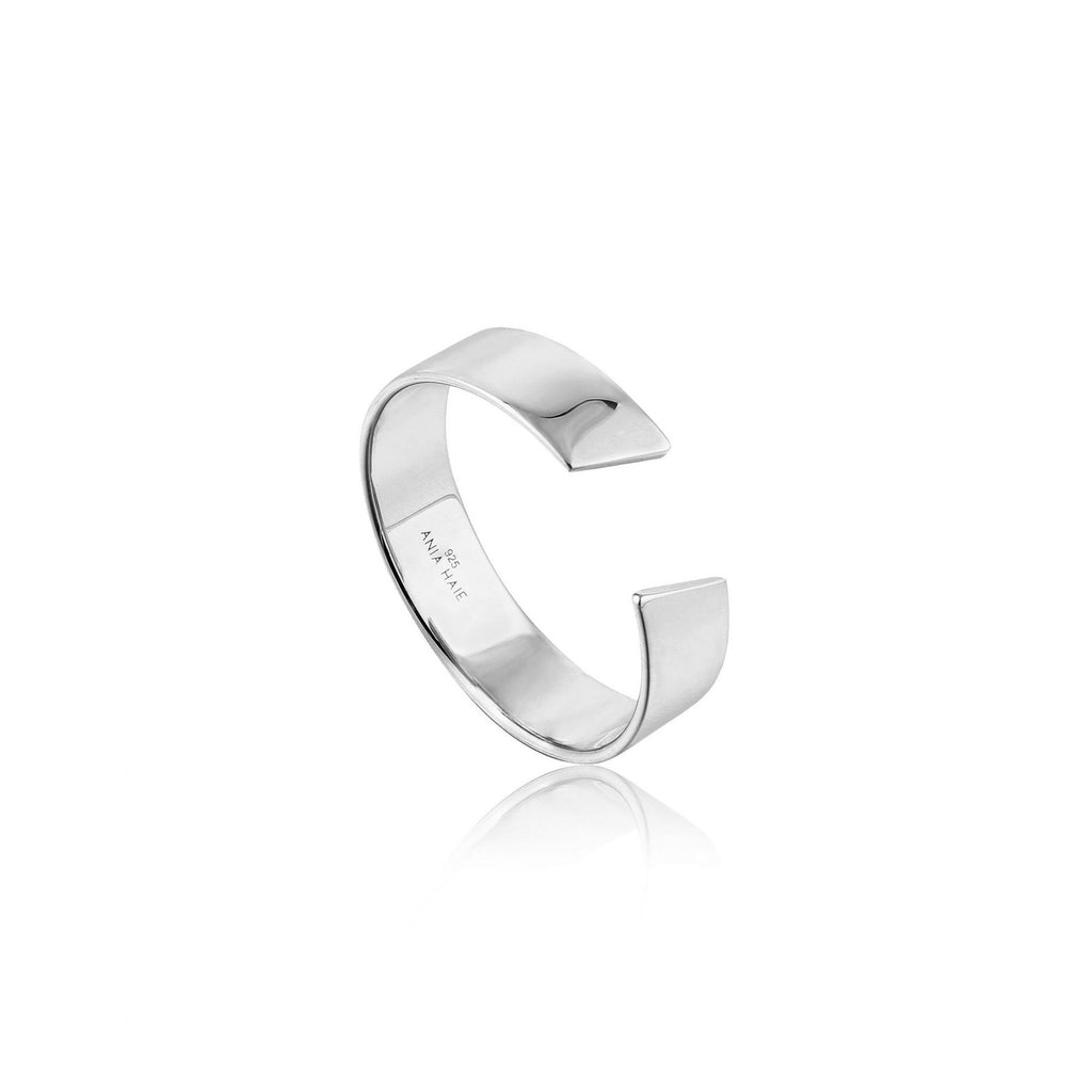 Geometry Wide Adjustable Ring - Silver