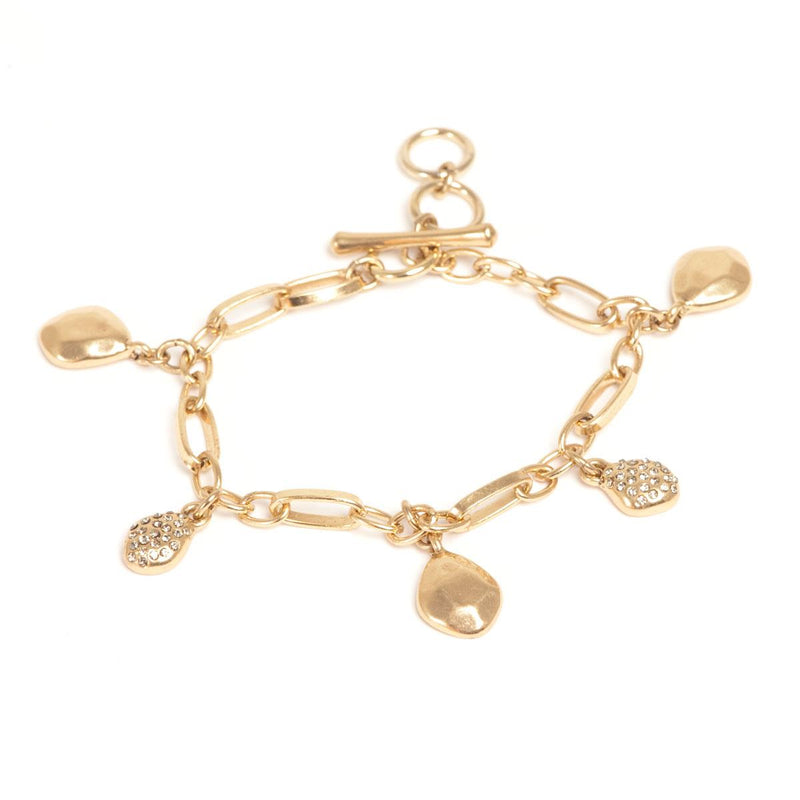 Gold Nuggets Charm Bracelet with Stones