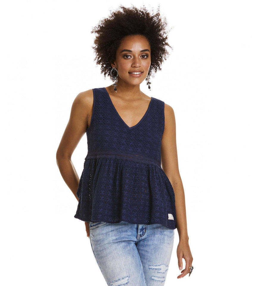 Solo Sleeveless Dark Blue Blouse - Final Sale Item