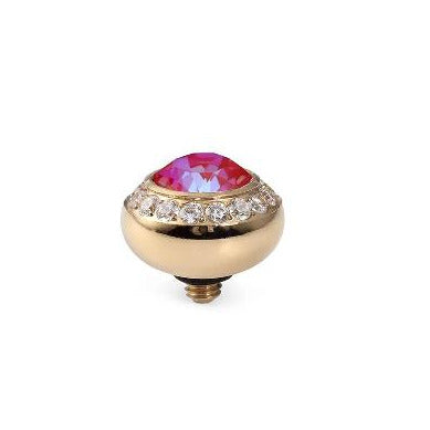 QUDO Top TONDO DELUXE 10mm Crystal Bordered, Royal Red Delite, Gold