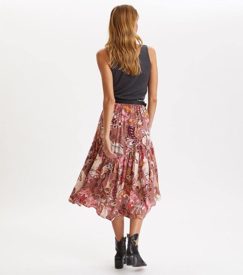 Puzzle Me Together Skirt, Red Taupe