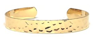 Open Hammered Bangle - Gold