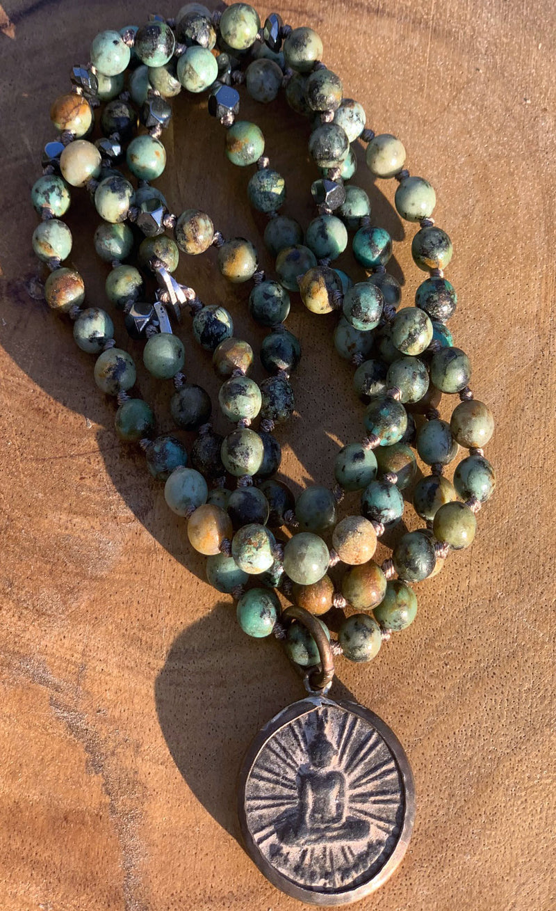 Buddha Large African Turquoise Necklace