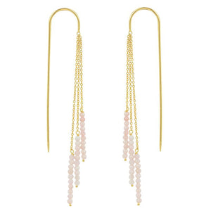 Gold & Pink Opal Threader Earrings
