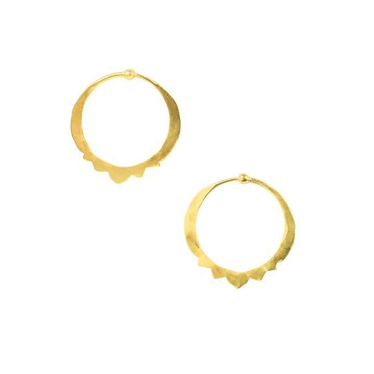 Hammered Mandala Bottom Small Gold Hoops