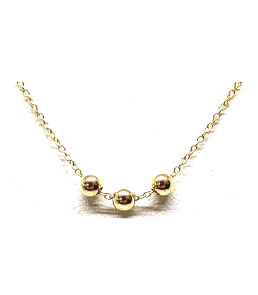 3 Bead Gold Necklace