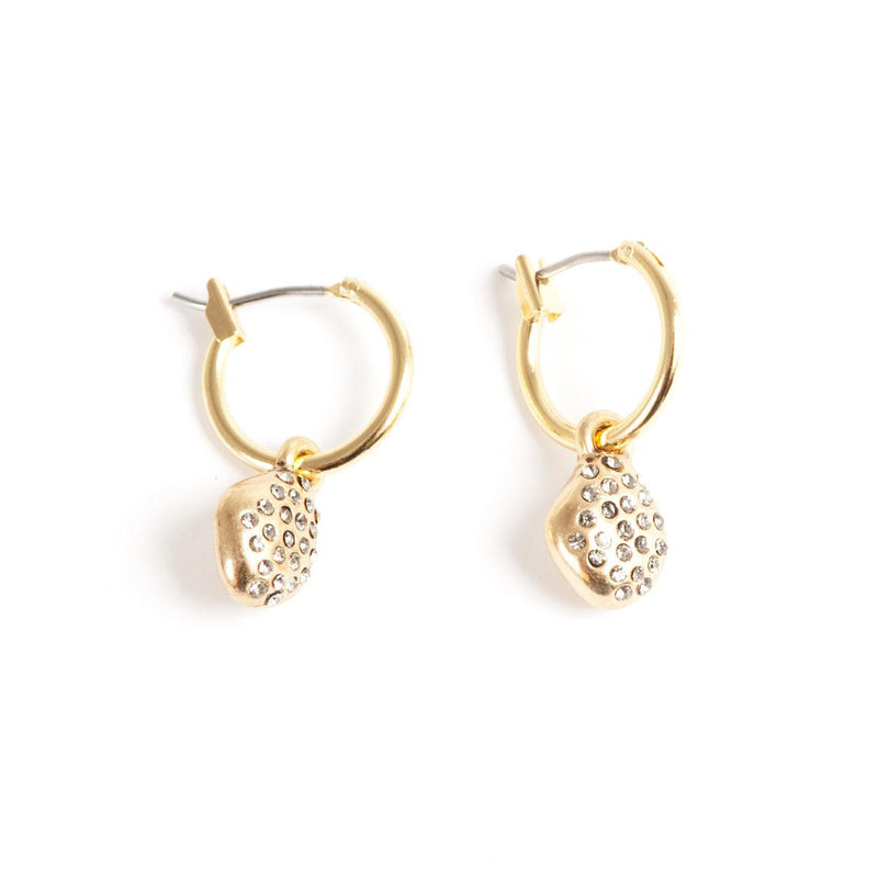 Gold Nugget Hoop Earrings with Stones