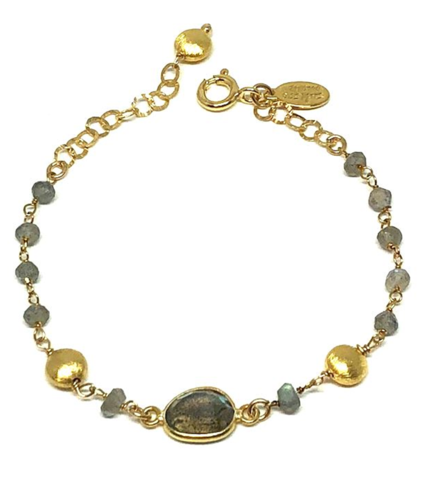 Labradorite and Gold Coin Bracelet