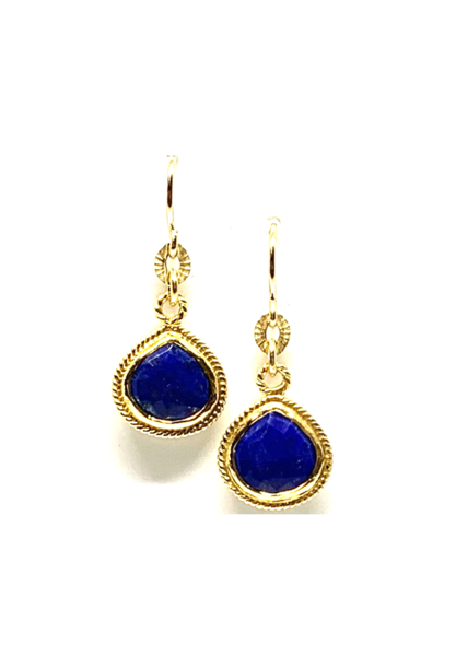 Small Wire Wrap Bezel Lapis Earrings
