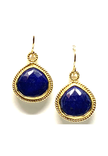 Wire Wrap Bezel Lapis Earrings