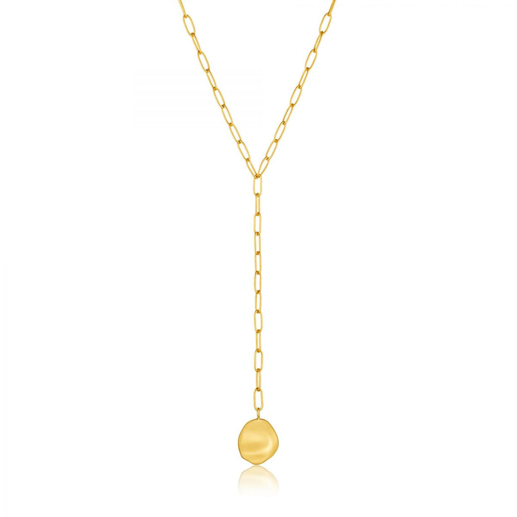 Crush Gold Disc Y Necklace