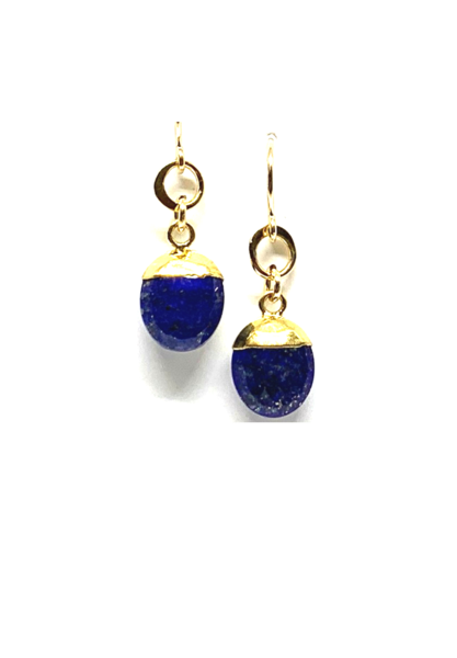Small Oval Lapis Earrings