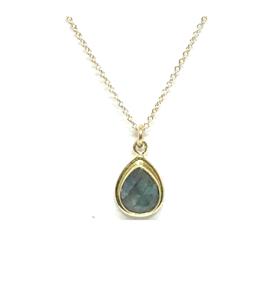 Teardrop Bezel Labradorite Necklace
