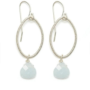 Annika Earrings, Silver / Aquamarine