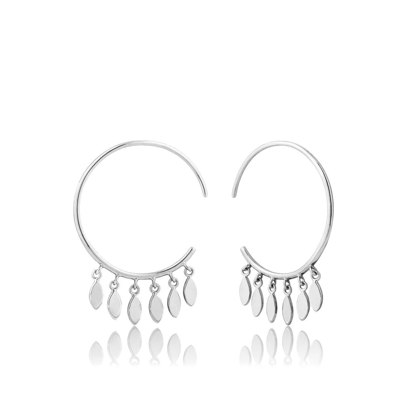 Multi Drop Hoop Earrings - Silver