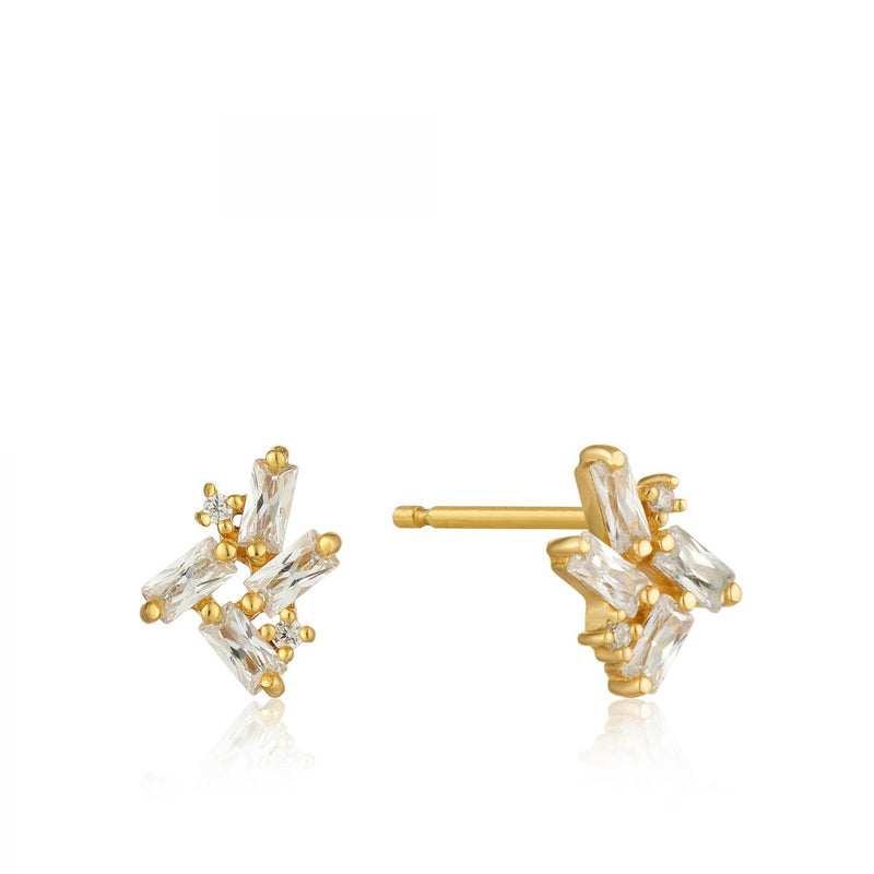 Cluster Gold Stud Earrings