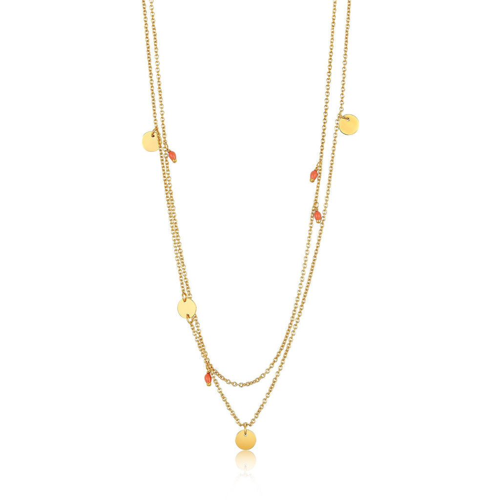 Dotted Double Gold Necklace