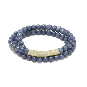 Bar Bracelet, Blue Agate / Gold