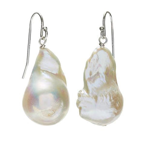 Baroque Pearl Earrings - Silver/White
