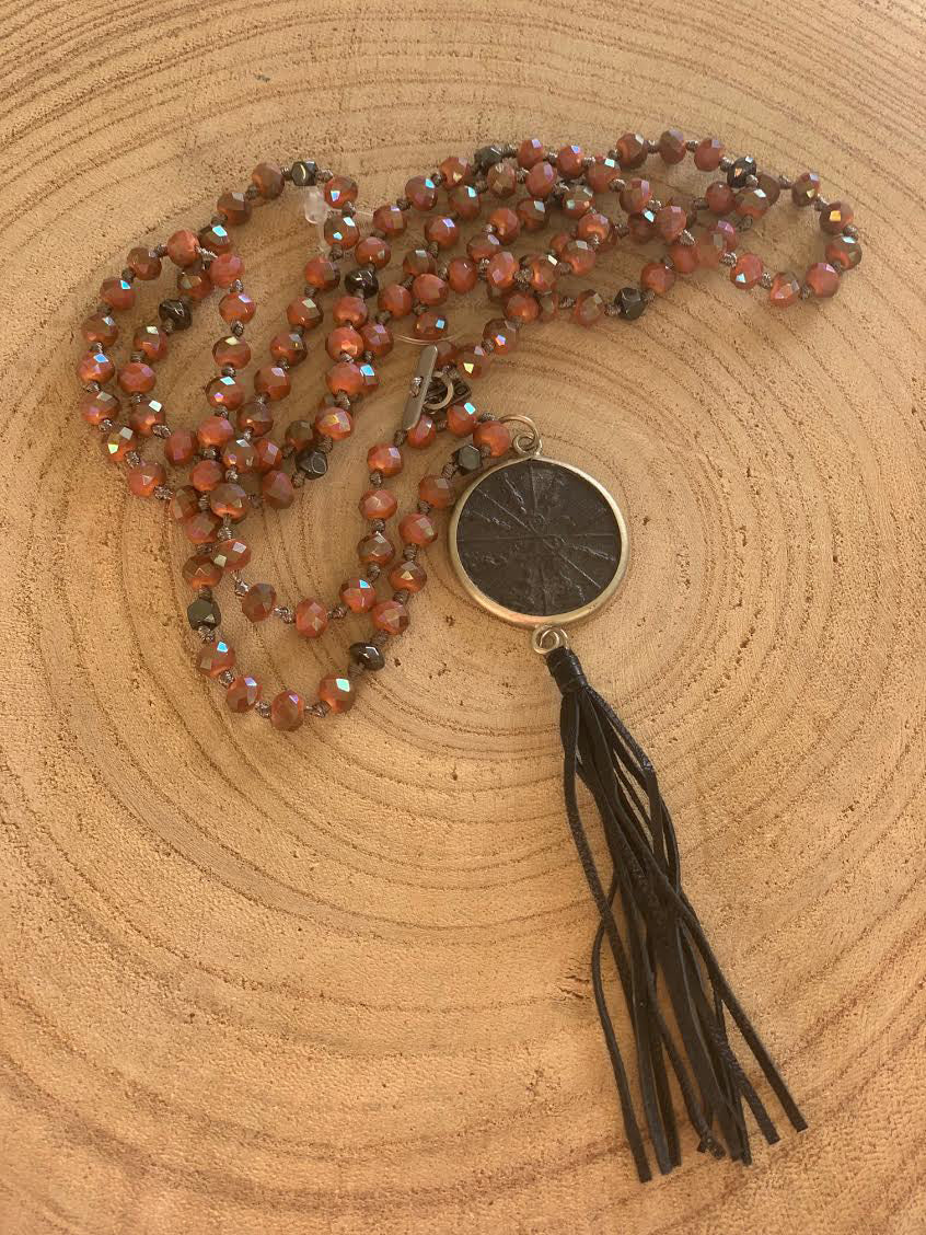 Buddha Orange Crystal Necklace with Tassel