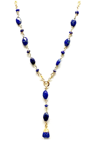 Lapis Gemstone Y Necklace