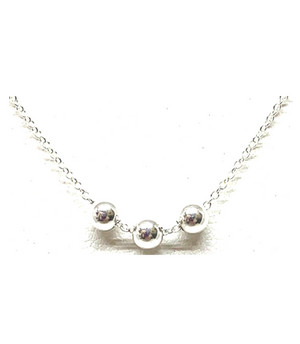 3 Bead Silver Necklace