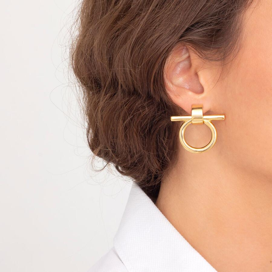 Medium Omega Gold Earrings