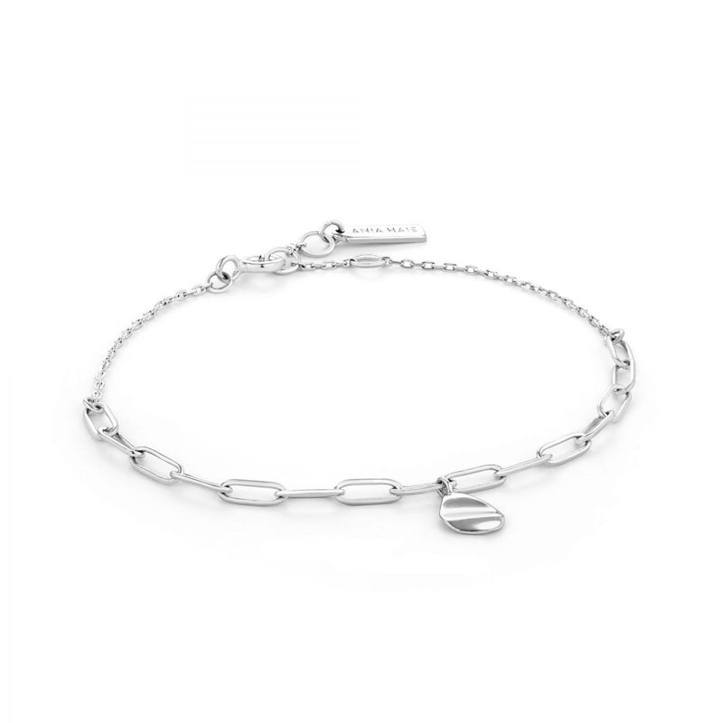 Crush Silver Drop Disc Bracelet