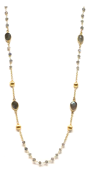 Long Labradorite and Gold Coin Necklace