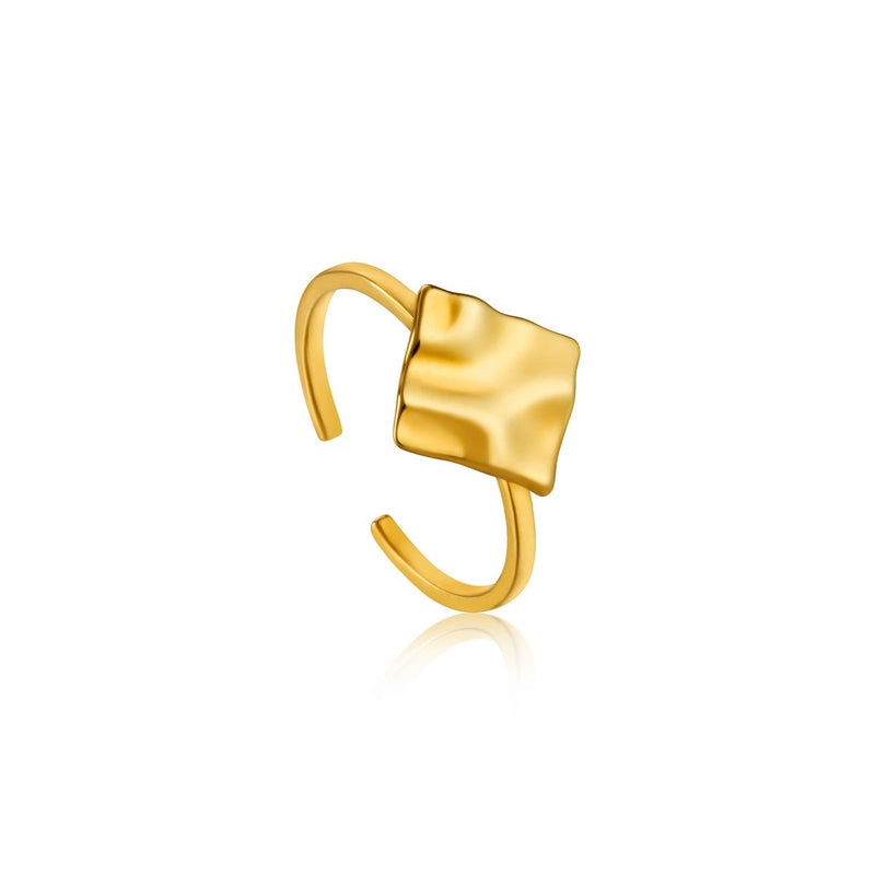Crush Gold Square Adjustable Ring