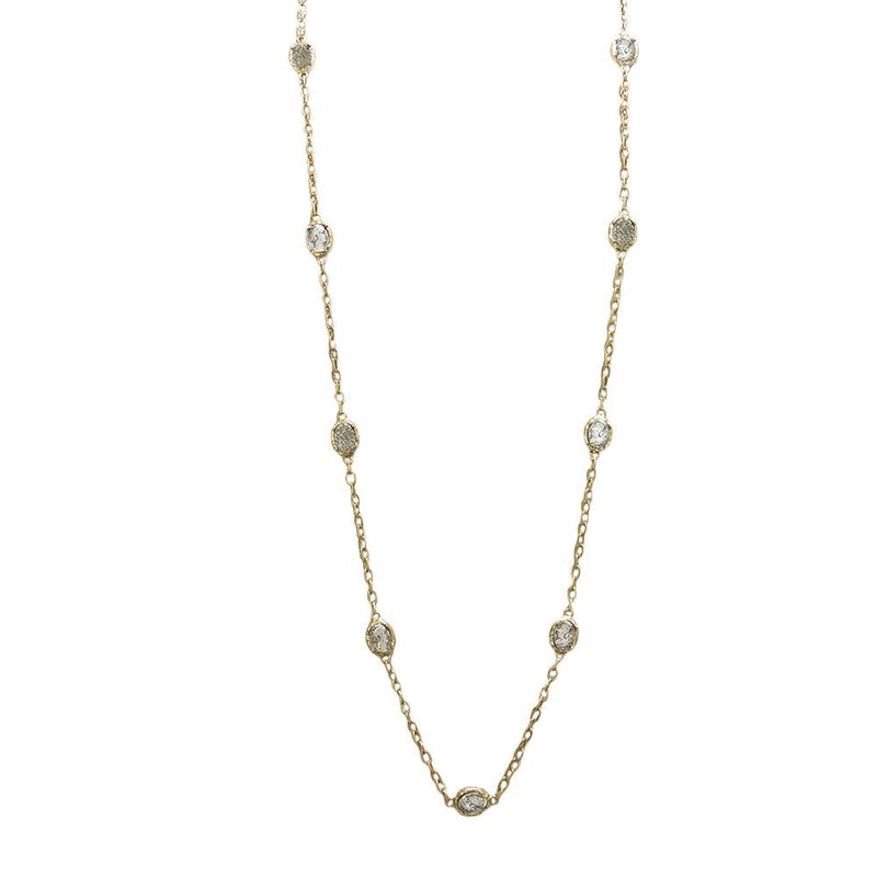 Gold Faustina Coin and Pavé Station Necklace