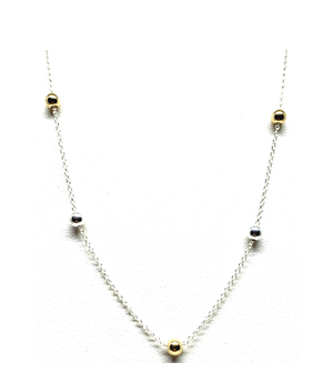 5 Bead Silver Necklace