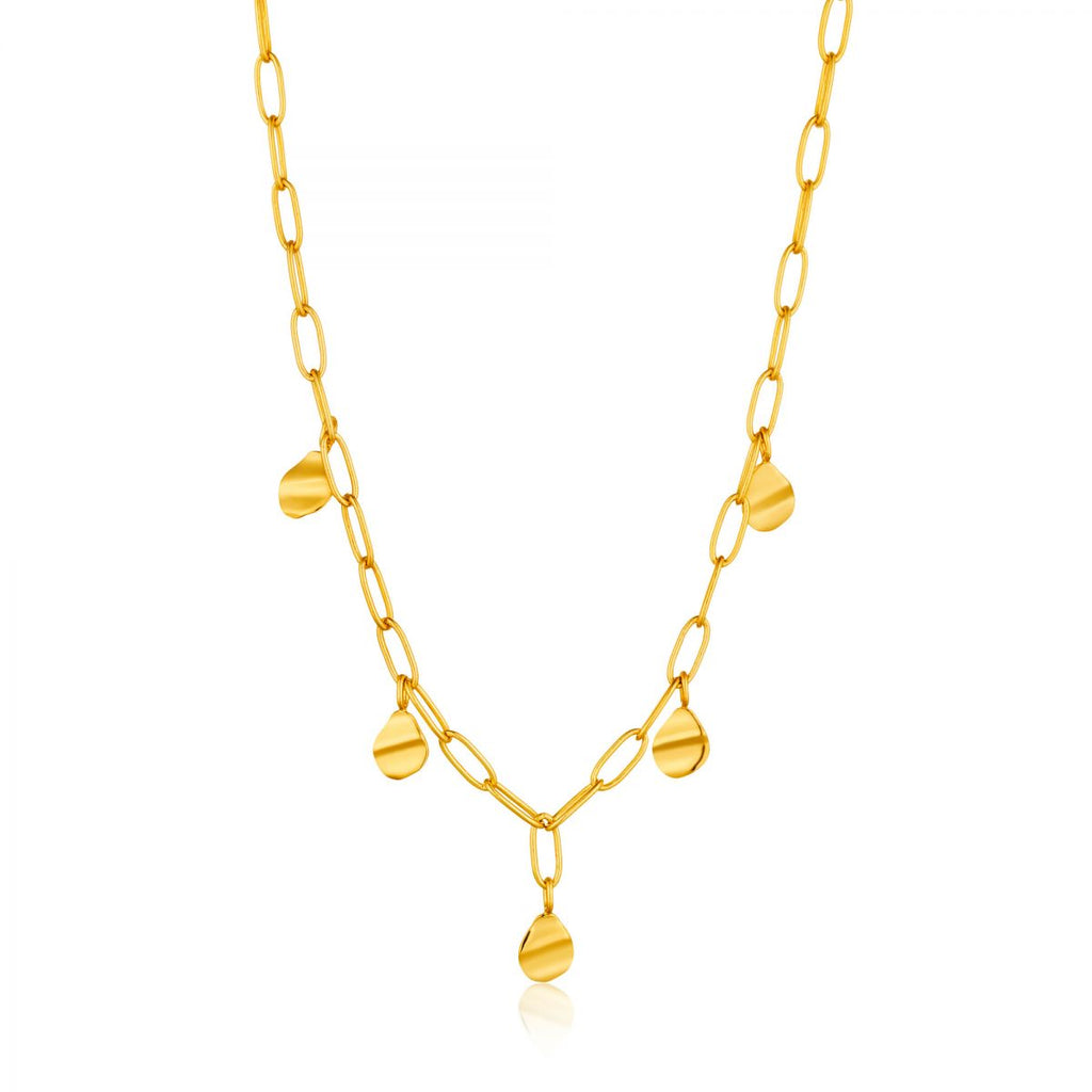 Crush Gold Drop Discs Necklace