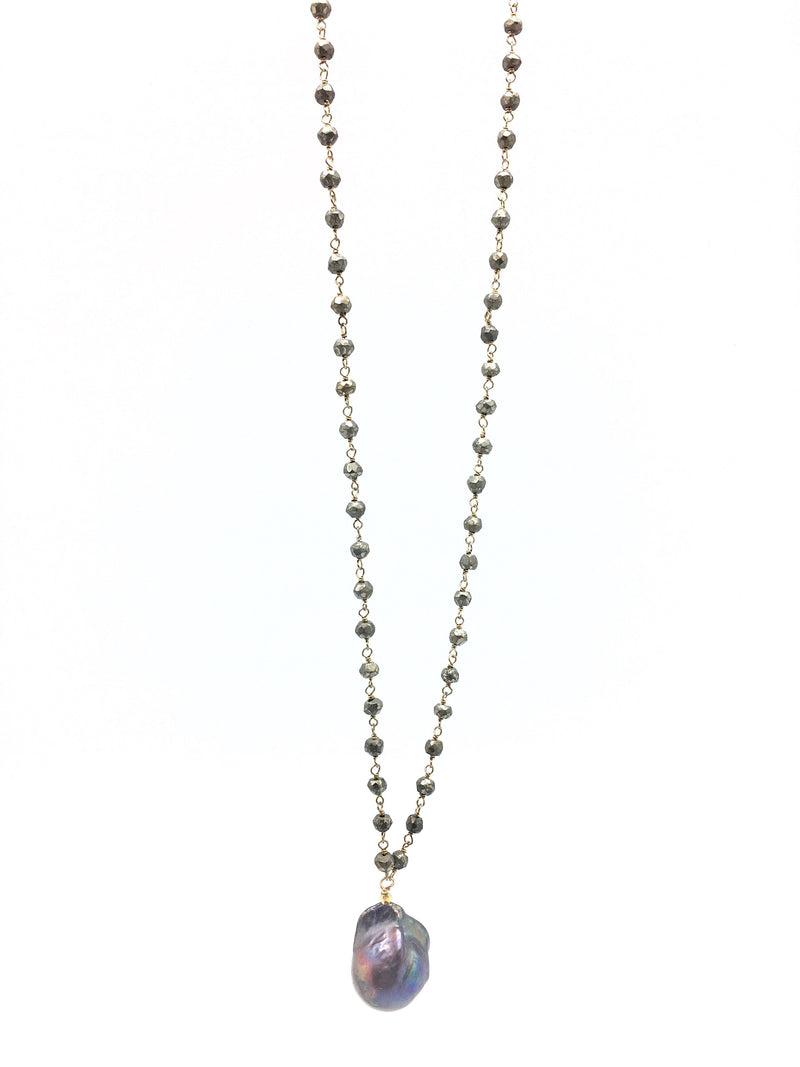 Diddi Long - Pyrite / Dark Grey Peacock Pearl