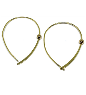 Plain Gold Cross Hoop with Single Bead