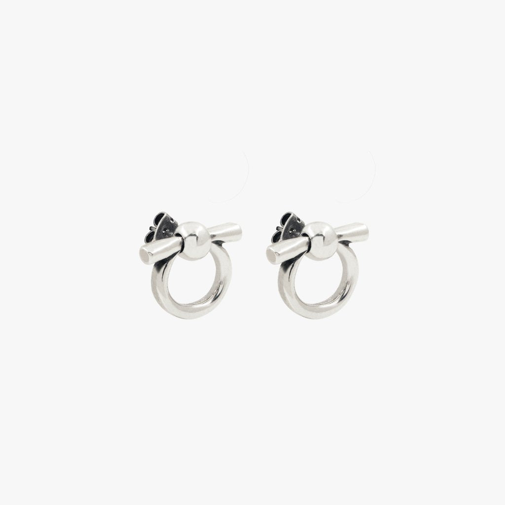 Small Omega Silver Earrings