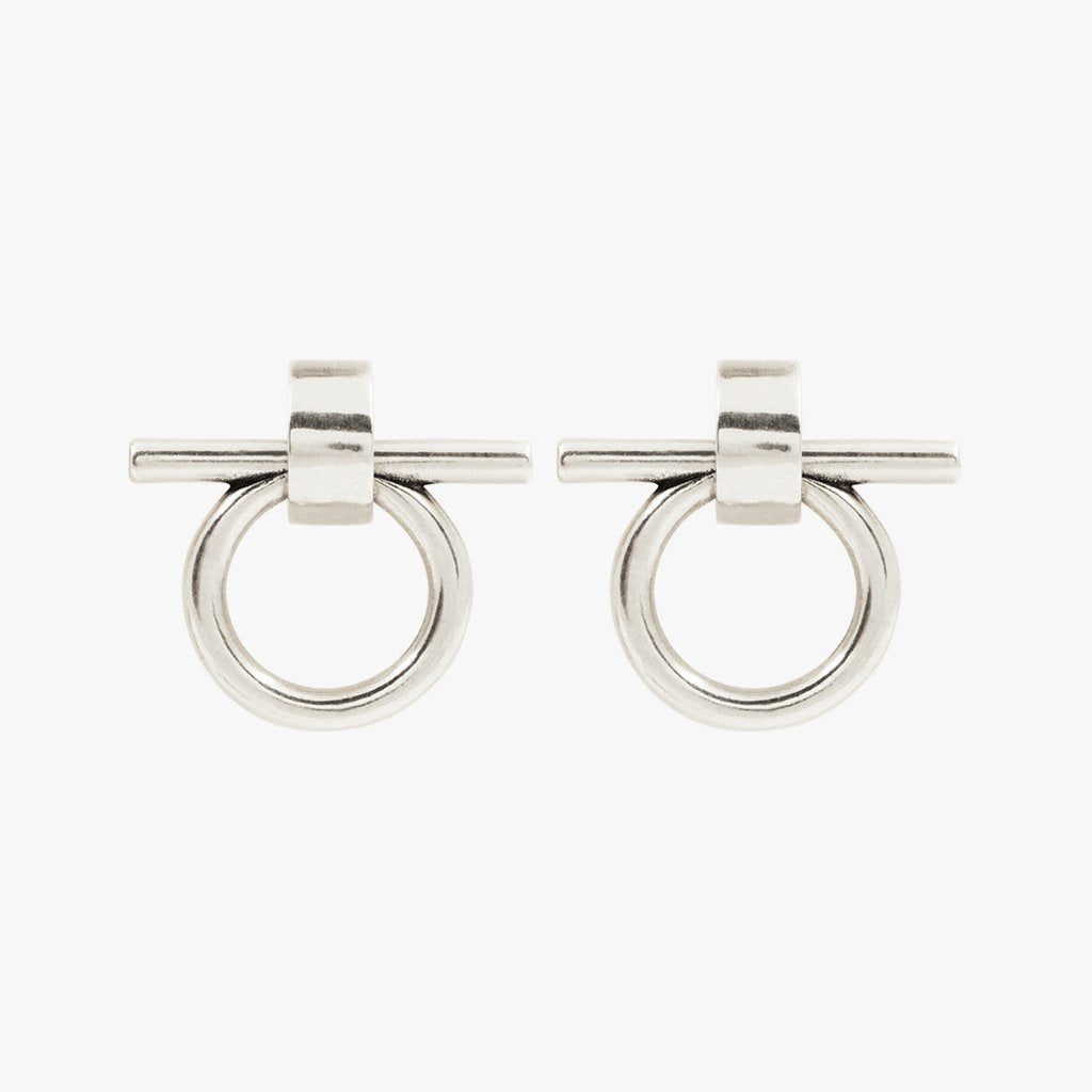Medium Omega Silver Earrings