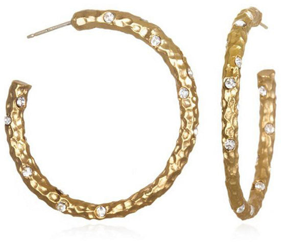 Gold Pavia Hoop With Crystals