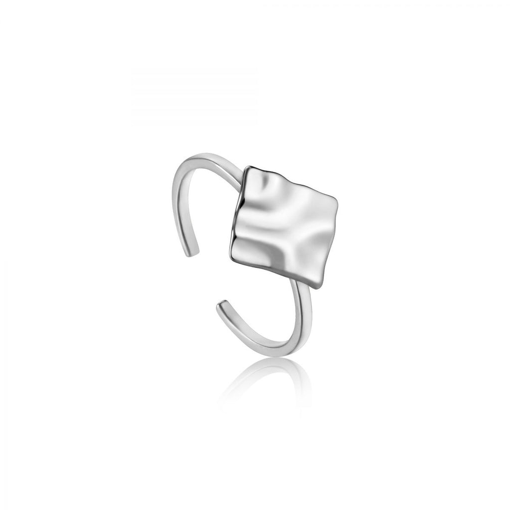 Crush Silver Square Adjustable Ring