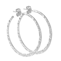 Hammered Silver Crescent Circle Post Hoop Earrings