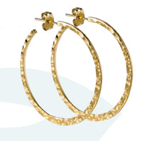 Hammered Gold Crescent Circle Post Hoop Earrings