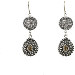 Vintage Silver Orai Coin and Teardrop Earrings