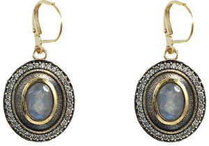Vintage Gold Labradorite Talen Coin Earrings