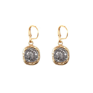 Gold Hammered Frame / Vintage Silver Coin Earrings