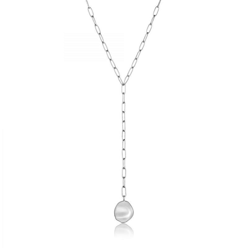 Crush Silver Disc Y Necklace